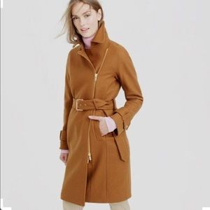 NWOT J.Crew Wool belted trench, tan, size 2